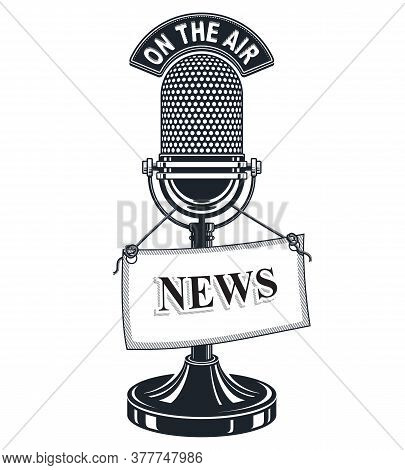 Retro Studio Microphone Vector Illustration With News Label. Journalism Concept, Broadcasting And Li