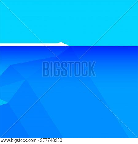 Iceberg Floating On Water And Underwater Part, Iceberg In Ocean For Symbol Climate Change, Big Icebe