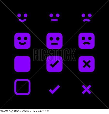 Purple Glowing Icon And Emotions Face, Emotional Symbol And Approval Check Sign Button, Emotions Fac