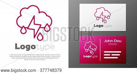 Logotype Line Cloud With Rain And Lightning Icon Isolated On White Background. Rain Cloud Precipitat