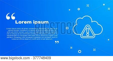 White Line Storm Warning Icon Isolated On Blue Background. Exclamation Mark In Triangle Symbol. Weat