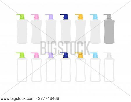 Mock-up Bottle Plastic Packaging Isolated On White, Bottle Collection Of Cosmetic Container Design,