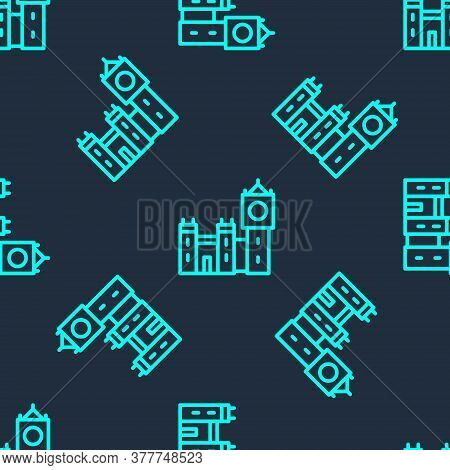 Green Line Big Ben Tower Icon Isolated Seamless Pattern On Blue Background. Symbol Of London And Uni