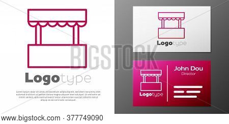 Logotype Line Ticket Box Office Icon Isolated On White Background. Ticket Booth For The Sale Of Tick