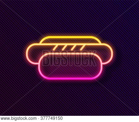 Glowing Neon Line Hotdog Sandwich Icon Isolated On Black Background. Sausage Icon. Street Fast Food
