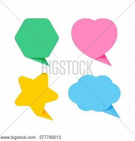 Cute Speech Bubble Paper Isolated On White, Paper Star Shape, Heart Shaped, Hexagon And Cloud Speech