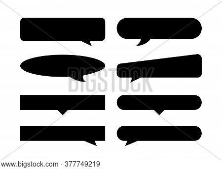 Speech Bubble Black Horizontal Shape Isolated On White, Many Horizontal Frame Speech Bubble Shape, D
