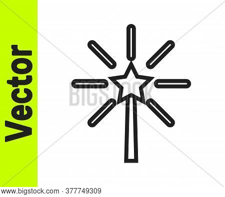 Black Line Firework Icon Isolated On White Background. Concept Of Fun Party. Explosive Pyrotechnic S