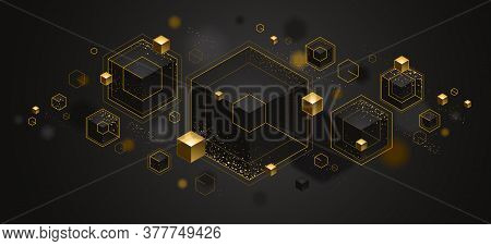 Abstract Vector Design With Cluster Of 3d Cubes With Golden Elements Vector Design, Luxury Color Sty