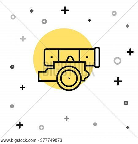 Black Line Cannon Icon Isolated On White Background. Random Dynamic Shapes. Vector