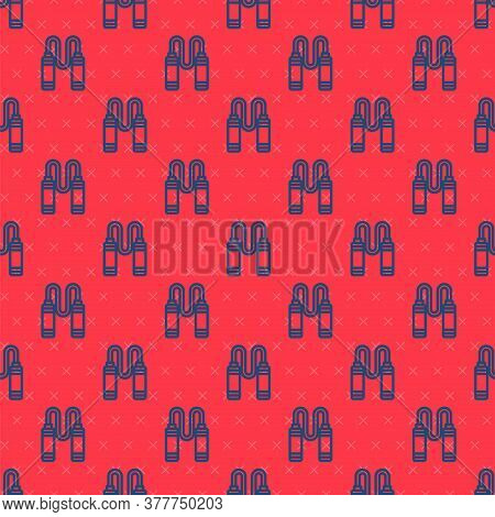 Blue Line Jump Rope Icon Isolated Seamless Pattern On Red Background. Skipping Rope. Sport Equipment