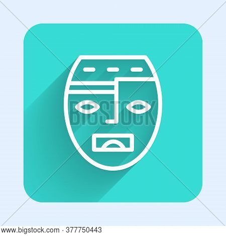White Line Mexican Mayan Or Aztec Mask Icon Isolated With Long Shadow. Green Square Button. Vector