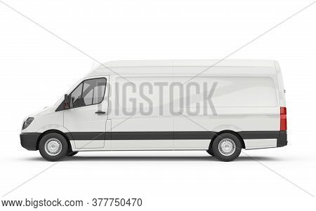 Lateral View Of A Van, Mockup, 3d Illustration