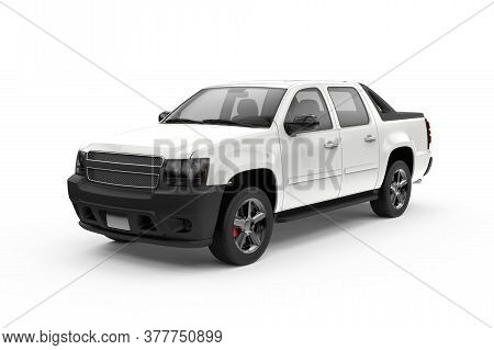 White Generic Unbranded Truck Car Isolated, 3d Illustration