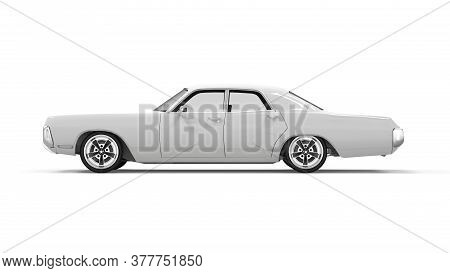 Lateral View Of A Generic Unbranded Old Car, 3d Illustration