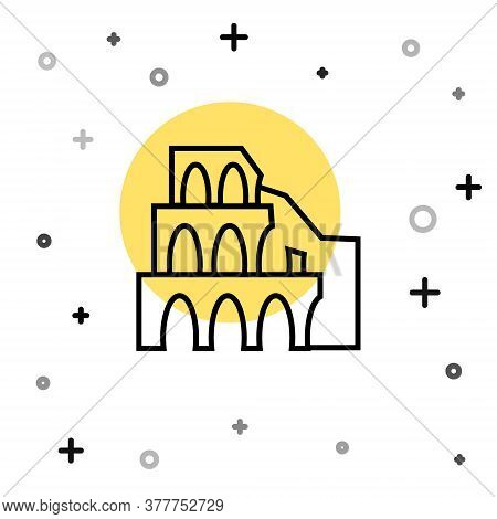 Black Line Coliseum In Rome, Italy Icon Isolated On White Background. Colosseum Sign. Symbol Of Anci