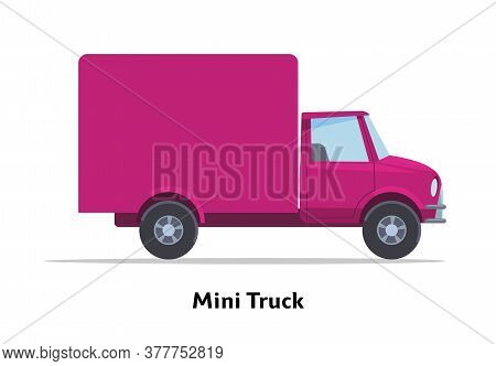 Mini Truck Side View. Vector Stock Flat Illustration. Raspberry Cartoon, Toy Car. Simplified Style F