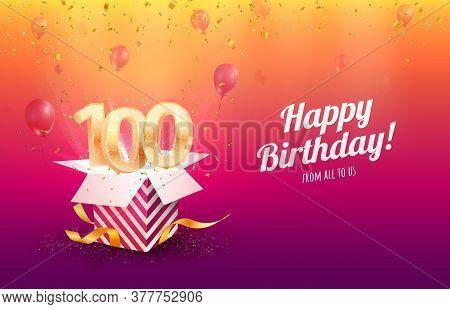 Celebrating 100th Years Birthday Vector Illustration. Hundred Anniversary Celebration Background. Ad