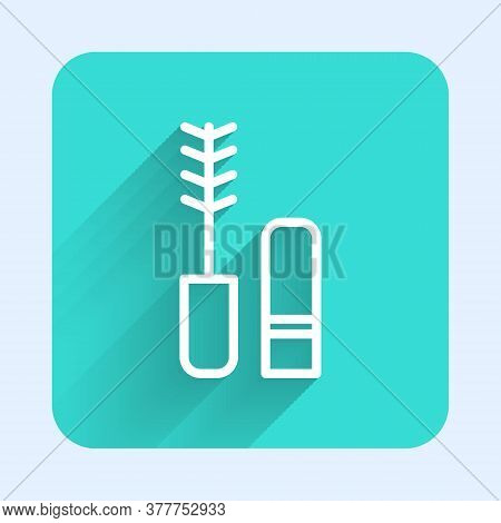 White Line Mascara Brush Icon Isolated With Long Shadow. Green Square Button. Vector