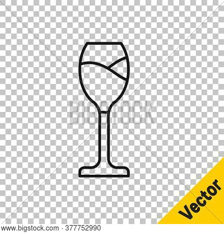 Black Line Wine Glass Icon Isolated On Transparent Background. Wineglass Icon. Goblet Symbol. Glassw
