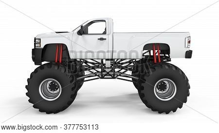 Monster Truck For Mockup Isolated, 3d Illustration