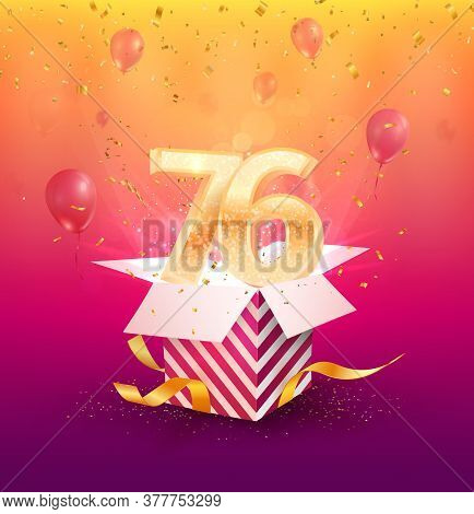76th Years Anniversary Vector Design Element. Isolated Seventy-six Years Jubilee With Gift Box, Ball