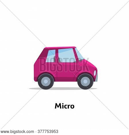 Sedan Car Micro Side View. Vector Stock Flat Illustration. Micro Car Side View. Vector Stock Flat Il