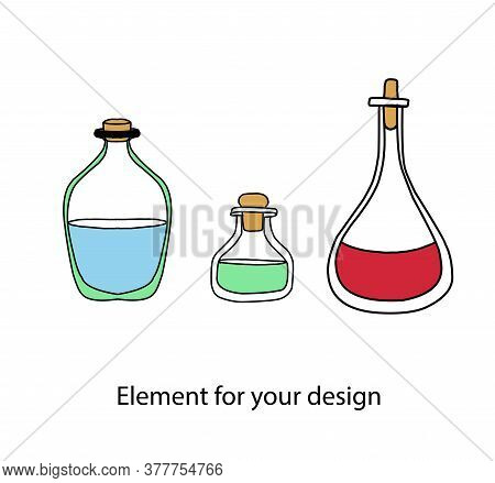 Magic Items. Magic Potions. Bottles With Multi-colored Witchcraft Broths