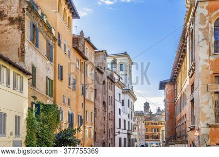 Street With Historical Houses In Rome Old Townd, Italy