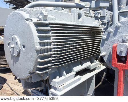 Large Power Electric Power Motor Steel Metal On Uss Iowa Naval Warship Destroyer Battleship