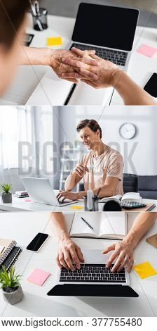 Collage Of Smiling Freelancer Looking At Laptop, Stretching Hands In Front Of Gadget, Typing On Lapt