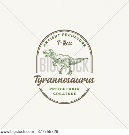 Prehistoric Creature Dinosaur Abstract Sign, Symbol Or Logo Template. Hand Drawn Tyrannosaurus Rex R