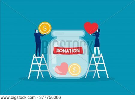Donation Bottle With Golden Coins And Dollar Banknotes. Charity, Donate Help And Aid Concept.