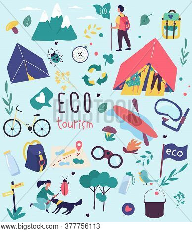 Ecotourism Poster Design For Nature Destinations With Colorful Icons Depicting Camping, Hiking, Kaya