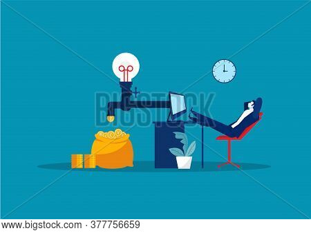 Businessman Sitting, Relaxing And Making Money Passively. Finance, Investment, Wealth, Passive Incom