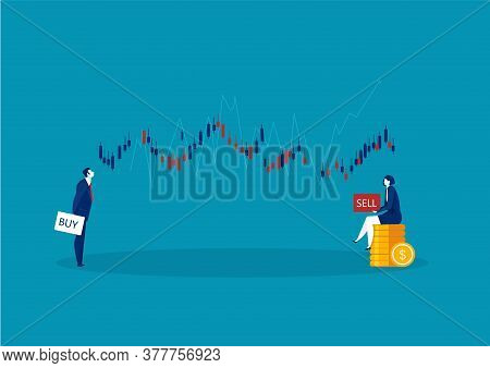 Two Business Trader And Business Candlestick Chart With Buy And Sell Buttons On Blue Background