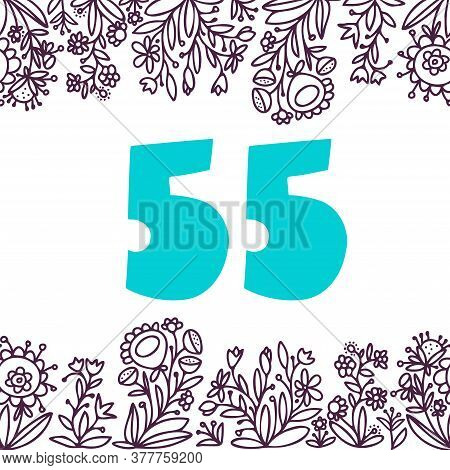 Seamless Vector Design Number 55 Card With Floral Ornament Frame On White