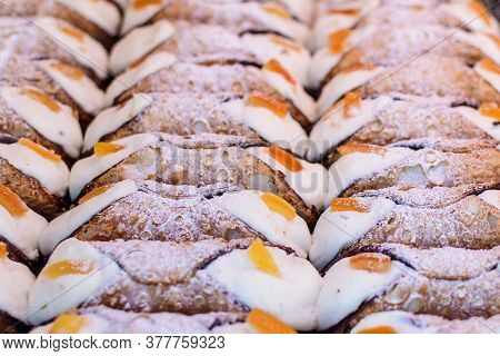 Group Of Freshly Cooked Cannoli Or Cannoli Siciliani, Traditional Sicilian Pastry With Ricotta And F