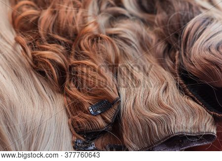 Wigs, Hair. Womens Beauty Concept.human And Synthetic Hairs