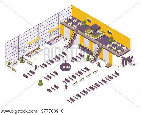 Isometric Airport Design Example, Arrival And Departure Zone, Waiting Area. With A Cafe, Chairs, Ben