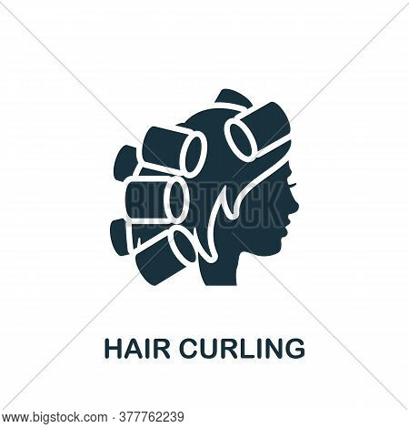 Hair Curling Icon. Simple Element From Beauty Salon Collection. Creative Hair Curling Icon For Web D