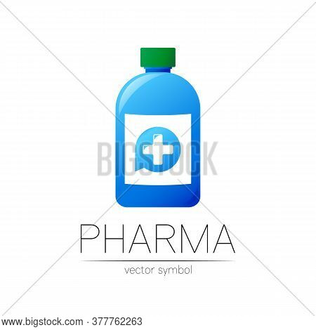 Pharmacy Vector Symbol With Blue Bottle And Cross In Circle For Pharmacist, Pharma Store, Doctor And