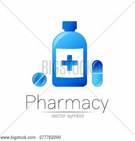Pharmacy Vector Symbol Of Blue Bottle With Cross And Pill Tablet Capsule For Pharmacist, Pharma Stor