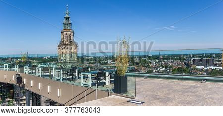 Groningen, Netherlands - July 13, 2020: Panorama Of The Viewing Platform On Top Of The Modern Forum