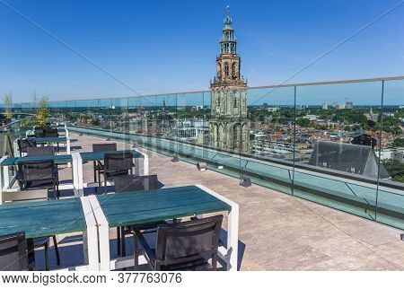 Groningen, Netherlands - July 13, 2020: Viewing Patform On Top Of The Forum Overlooking The City Cen