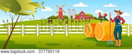 Farm Village Vector Illustration With Woman Farmer, Pitchfork, Hay, Cock, Mill, Livestock, Fence. Ag