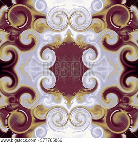 Royal Ornament In Baroque Style. Symmetric Pattern In Bordo, Gold, Gray Tones.  Abstract Background