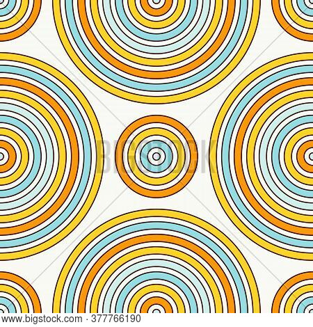 Seamless Pattern With Geometric Figures. Repeated Circles Ornamental Wallpaper. Abstract Background