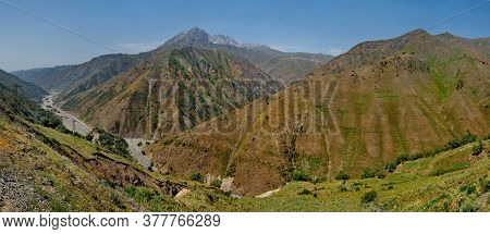 Kyrgyzstan. The North-eastern Section Of The Pamir Highway Between The City Of Osh And The Border Wi