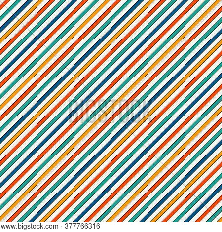 Vivid Colors Diagonal Stripes Abstract Background. Thin Slanting Line Wallpaper. Seamless Pattern Wi